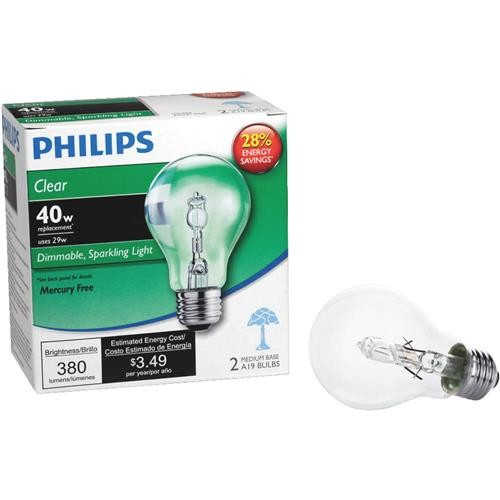 Philips Lighting Co Philips EcoVantage A19 Medium Halogen Light Bulb (2-Pack)
