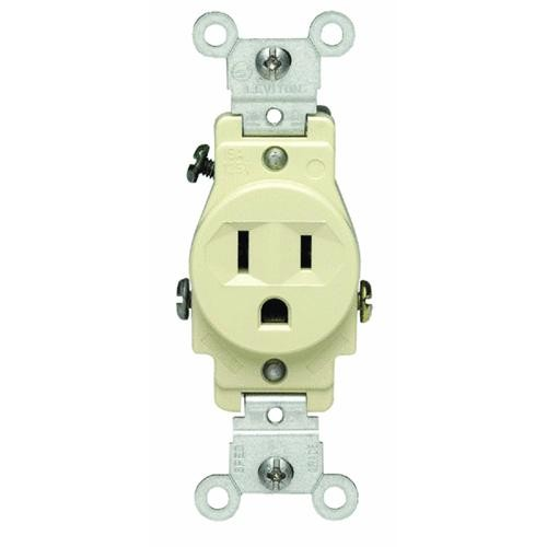 Leviton Ivory Grounded Single Outlet