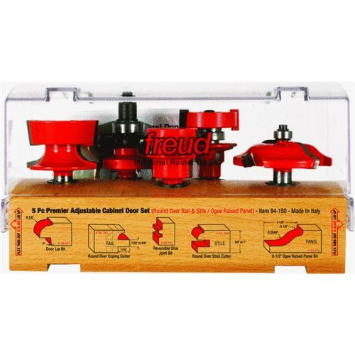 Freud Inc 5-Piece Cabinet Rail And Stile Router Bit Set