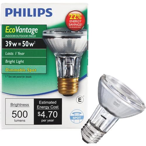Philips Lighting Co Philips EcoVantage 50W Equivalent PAR20 Halogen Spotlight Light Bulb