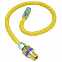 """Brass Craft 3/8"""" O.D. Gas Connector - 1/2"""" M.I.P. Safety+PLUS x 3/8"""" M.I.P."""