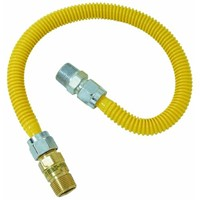 """Brass Craft 5/8"""" O.D. Gas Connector - 1/2"""" M.I.P. Safety+PLUS x 1/2"""" M.I.P."""