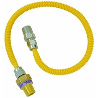 """Brass Craft 3/8"""" O.D. Gas Connector - 1/2"""" M.I.P. Safety+PLUS x 1/2"""" M.I.P."""