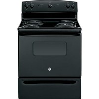 "General Electric 30"" Freestanding Electric Range Coil Burners, Window, Clock, Manual Clean, JBS10DFBB, Black"