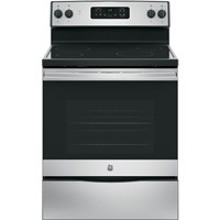 "General Electric 30"" Freestanding Electric Range Smoothtop, Window, Clock, Self Clean. JB625RKSS, Stainless Steel"