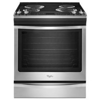 "Whirlpool 30"" Electric Slide-in Coil Top Window,Clock/Timer, Self Clean, WEC530H0DS, Stainless Steel"
