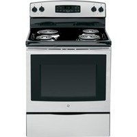 "General Electric 30"" Freestanding Electric Range Coil Burners, Window, Clock, Self Clean, JB250RF Series, Stainless Steel"