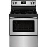 "Frigidaire 30"" Freestanding Electric Range Smoothtop Manual Clean, Window, Clock. FFEF3051TS, Stainless Steel"