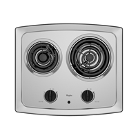 """Whirlpool 21"""" Electric Cooktop, Coil Top, RCS2012RS, Stainless Steel"""