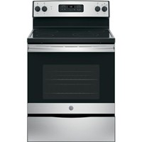 "General Electric 30"" Freestanding Electric Range Smoothtop, Window, Clock, Manual Clean. JBS60RKSS, Stainless Steel"