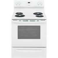 """Frigidaire 30"""" Freestanding Electric Range Coil top Manual Clean, Window, Clock, FCRC3012AW, White"""