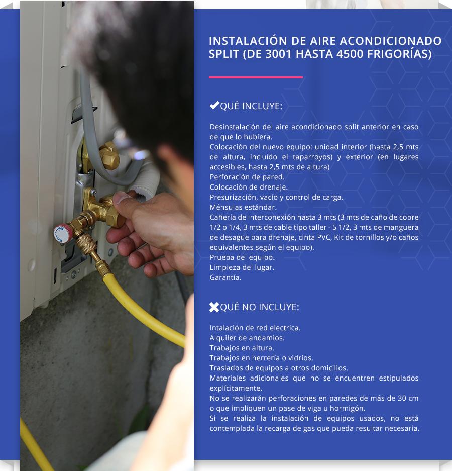 Instalación de Aire Acondicionado Split (de 3001 hasta 4500 frigorías)