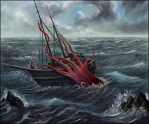 Ilustração da lula gigante atacando uma embarcação