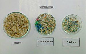 Diferentes tamanhos de microplasticos
