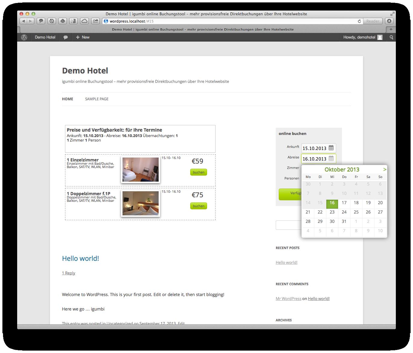 Der Buchungsdialog des igumbi online Buchungstools / Reservierungssystem auf einer WordPress Seite mit dem Plugin integriert. Buchungssystem, IBE, Reservierungssystem für WordPress