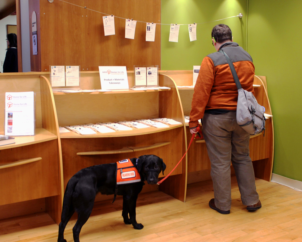 A blind man reading with his dog