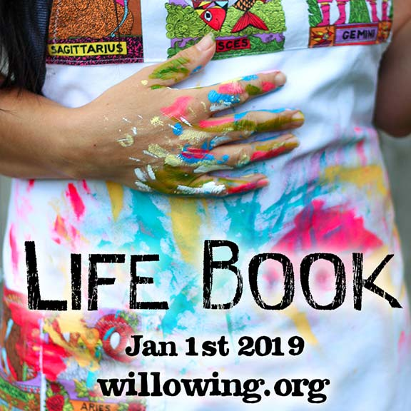 Life Book with person wearing colourful apron