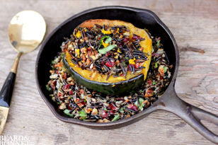 Roasted Acorn Squash Stuffed with Wild Rice