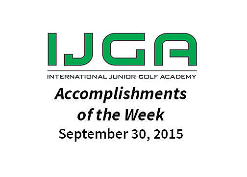 Accomplishments of the Week – Sept. 30, 2015