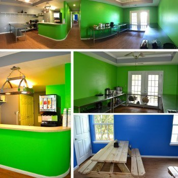 Collage of Vintage Cafe's Kitchen and Dining Area