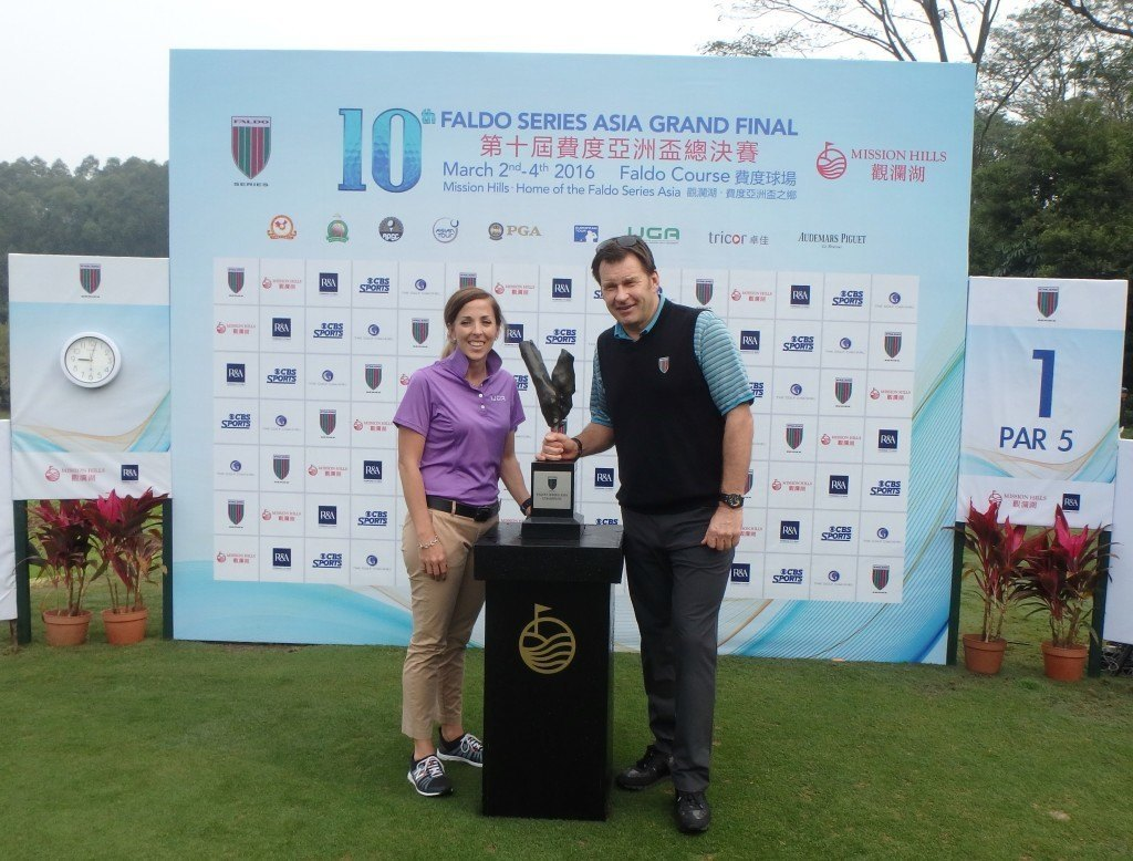 Nick Faldo and Ryley with Trophy