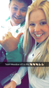 #PlaneSelfie with her caddie ... Wheels up to Rio