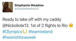 Stephanie was ready to go as soon as she got on the plane to Rio.