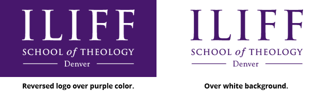 Correct Iliff Logo Layout on color background and on white