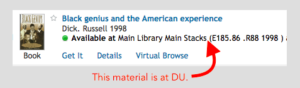 search result showing item is available at DU main library