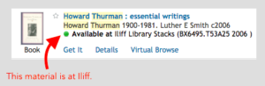 search results showing item is available in the Iliff library