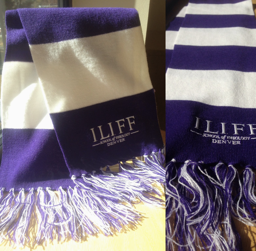 The Iliff scarf is a fetching purple and white with our logo