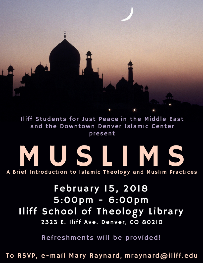 """Muslims: A Brief Introduction to Islamic Theology and Muslim Practices"" will take place in the library on Feb. 15 from 5-6pm. The presentation will be given by one of our Muslim students, Muhammad Kolila, who is also Islamic Studies Instructor at Denver Islamic Society and an Imam at Downtown Denver Islamic Center. He hopes to educate people about his faith."