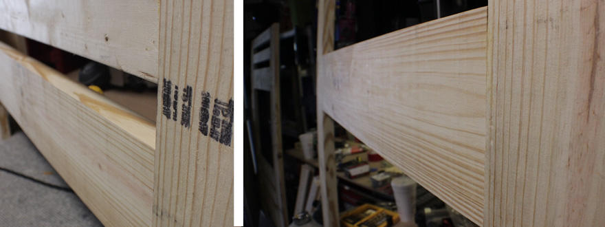 Here's a detail of the outside face of the finished joints.