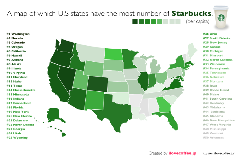 Which U.S. states have the most number of Starbucks? - I ... on tennessee's state map, state of maryland map, hawaii's state map, canada's state map, iowa's state map, wyoming's state map, maine's state map, oregon's state map, new jersey's state map, idaho's state map, indiana's state map, alaska state map, minnesota's state map, state of virginia map, alabama state map, california state map, new york's state map, arizona's state map, floridas state map, india's state map,