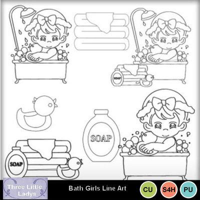 Bath_girls_line_art
