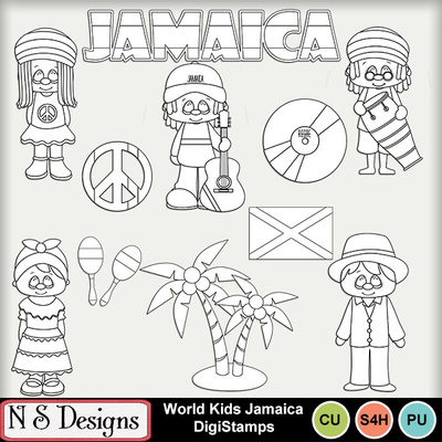 Clip Art | World Kids Jamaica DigiStamps-(NSD) | Beach, Boys