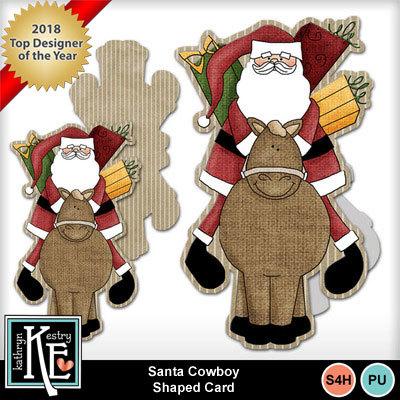 Santa-cowboy-shaped-card