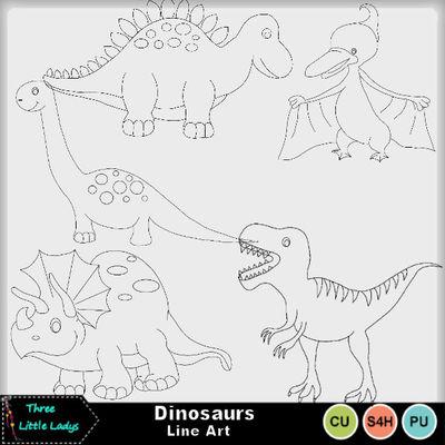Dinosaurs_line_art