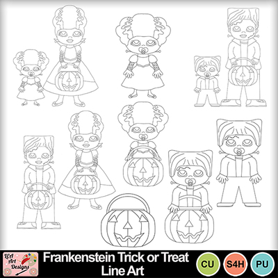 Frankenstein_trick_or_treat_line_art_preview
