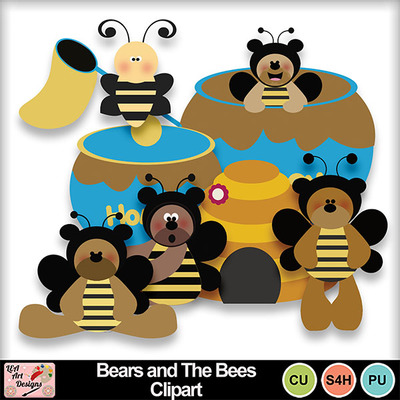 Bears_and_the_bees_clipart_preview