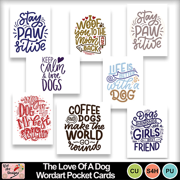 The_love_of_a_dog_wordart_pocket_cards_preview
