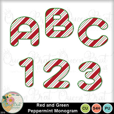 Redgreenpeppermintmonogram