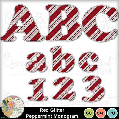 Redglitterpeppermintmonogram