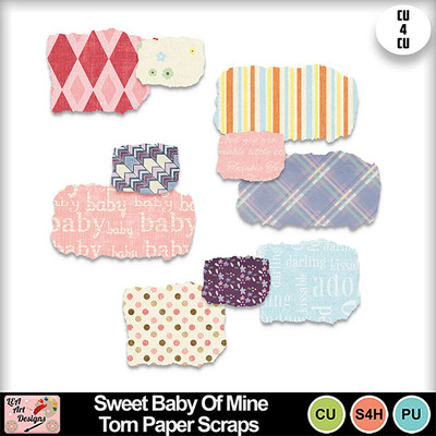 Sweet_baby_of_mine_torn_paper_scraps_preview