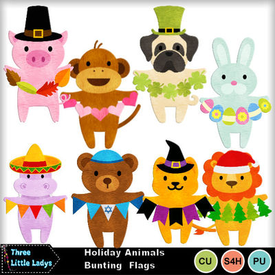 Holiday_animals_bunting_flags-tll