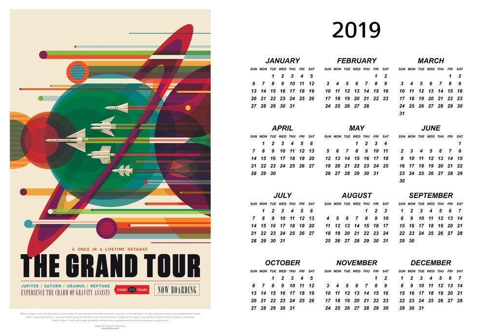 20c1fd4a286 Details about The Grand Tour NASA Space Travel 2019 Calendar Inch Poster  24x36 inch
