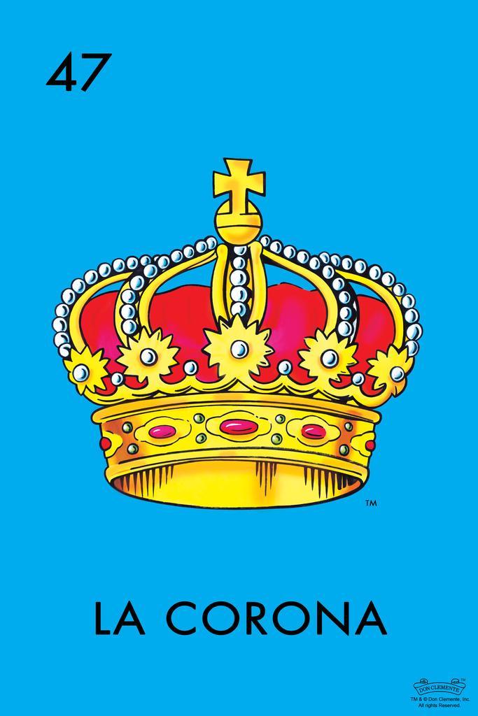 47 La Corona Crown Loteria Card Mexican Bingo Lottery Inch