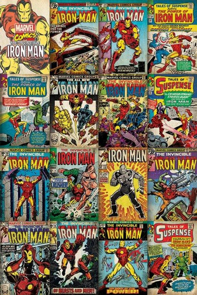 Comic Book Cover Collage : Iron man comic book covers collage art poster