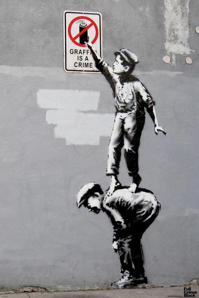 banksy graffiti crime spray paint boys stencil street art poster 12x18 638211171501 ebay. Black Bedroom Furniture Sets. Home Design Ideas