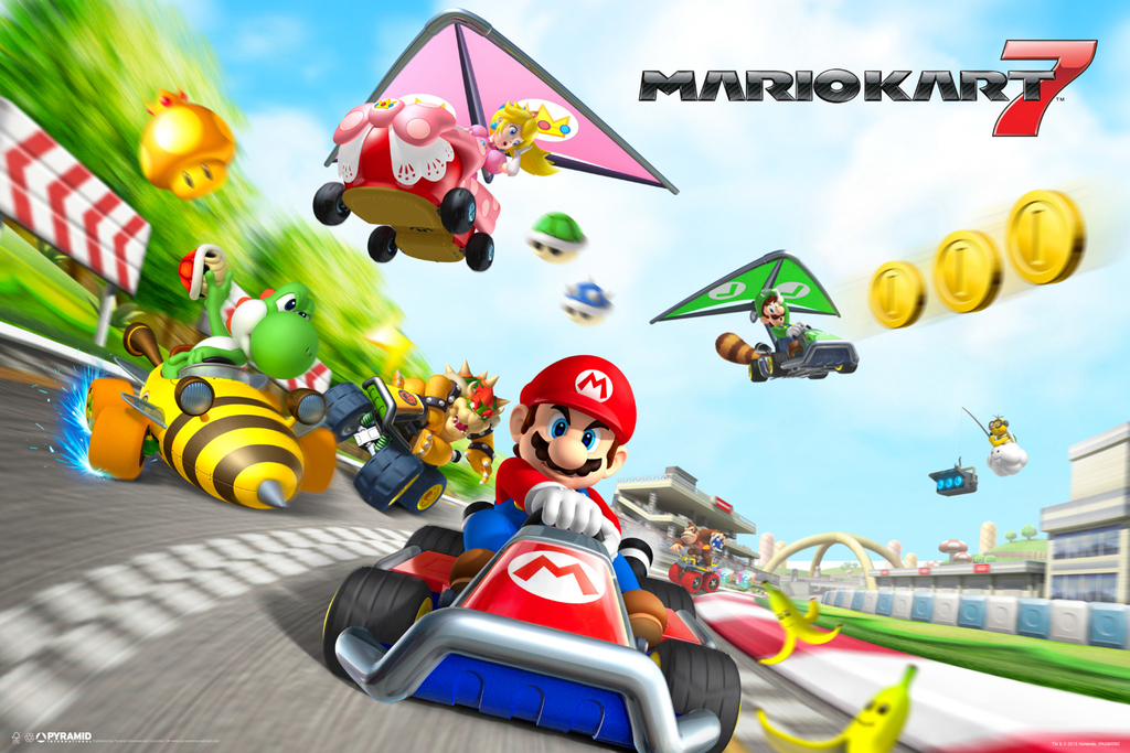 mario kart 7 nintendo 3ds wii racing track characters video game poster 18x12 708747479041 ebay. Black Bedroom Furniture Sets. Home Design Ideas